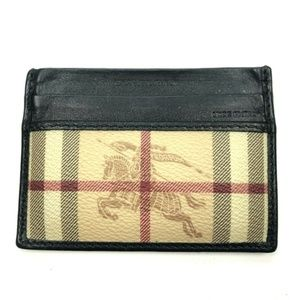 Burberry tartan plaid leather knight card wallet